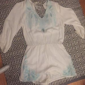 White and blue embroidered romper